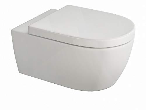 Design Hänge WC | Spülrandlose Toilette | Wand-WC | WC-Set | Inkl. abnehmbaren WC-Sitz...