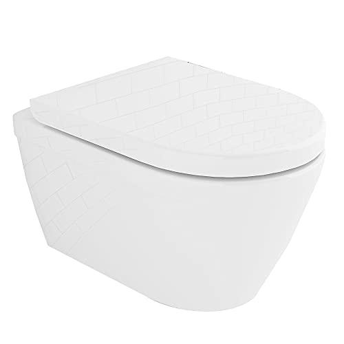 Spülrandloses Hänge-WC mit Lotuseffekt | Tiefspül-WC mit Antibakterielle Beschichtung |...