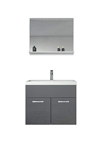 Badezimmer Badmöbel Montreal 02 Weiß mit Grau 60cm Waschbecken - Unterschrank Waschtisch...