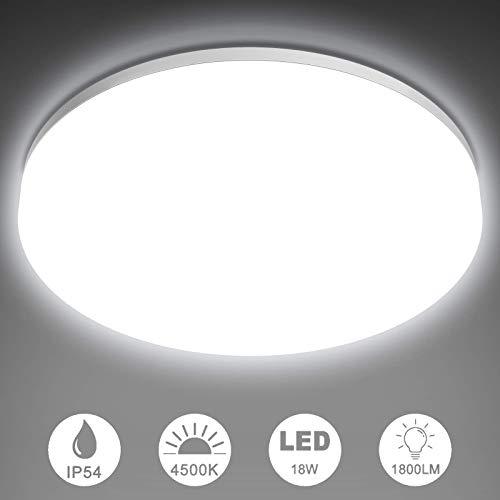 NIXIUKOL Deckenlampe 18W, LED Deckenleuchte 4500K Neutralweiß, IP54 Wasserfest Badlampe...