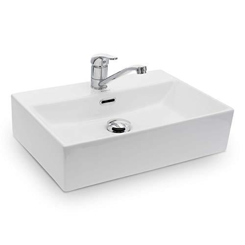 Vilstein Waschbecken Badezimmer, Aufsatzwaschbecken, Hängewaschbecken aus Keramik, eckig,...