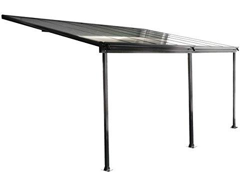 osoltus Aluminium Terrassenüberdachung Terrassendach Veranda grau/weiß 435 x 300 cm...