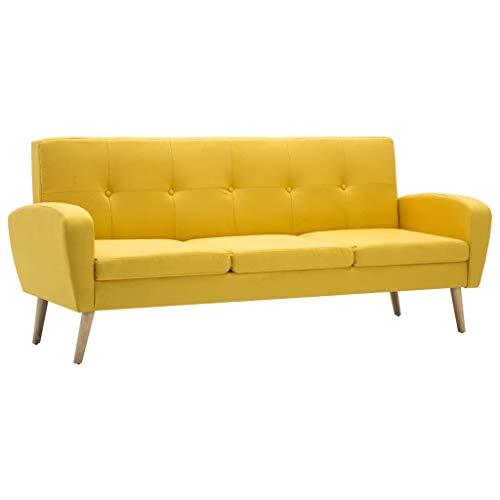 vidaXL Sofa 3-Sitzer Stoff Gelb Polstersofa Couch Stoffsofa Designersofa