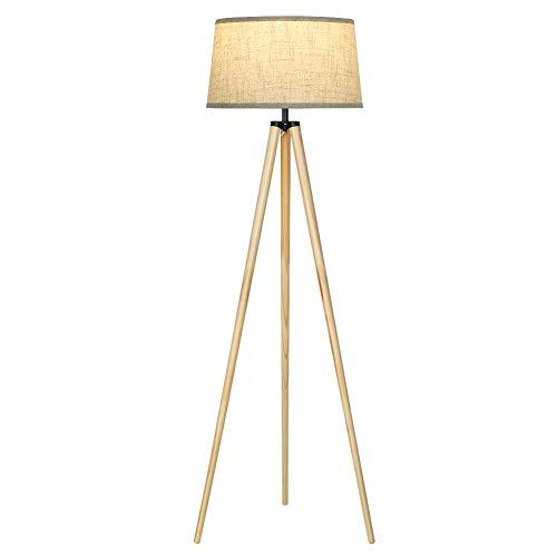 DEWENWILS Stehlampe Wohnzimmer, E27 Fassung Stehleuchte, Holzstativ mit Beigem Leinen...