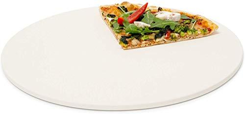 Relaxdays Pizzastein rund, Steinplatte für Pizza & Flammkuchen, Backstein für Ofen &...
