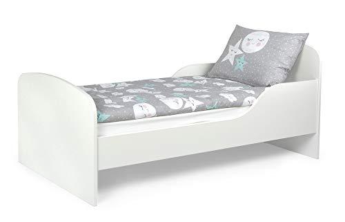 Leomark Funktionsbett aus Holz - White - Kinderbett mit Matratze, Holzbett mit...