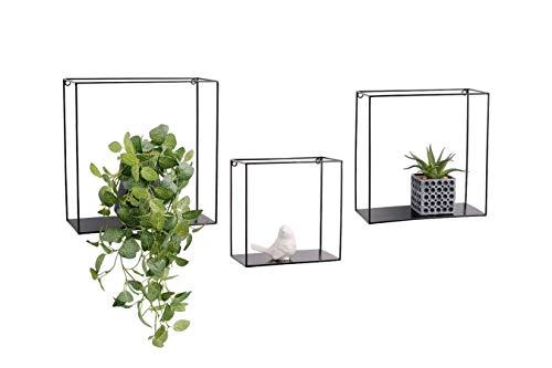 LIFA LIVING 3er Set Wandregal im Industrie Design, Schweberegal aus schwarzem Metall,...