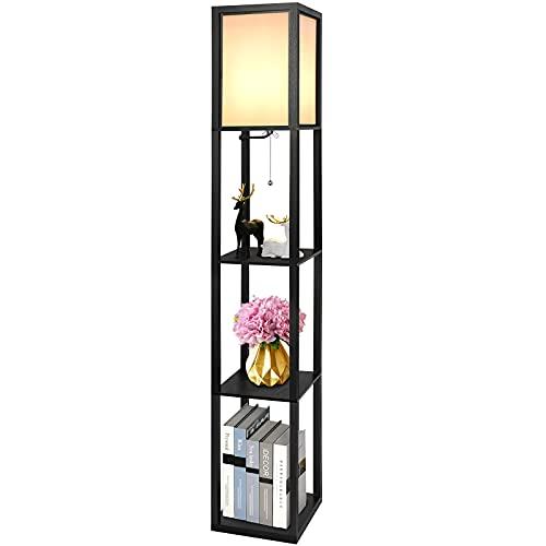 Stehlampe aus Holz, Alampia Stehleuchte mit Regal 1,6M, Moderne Standleuchte Holzablage...