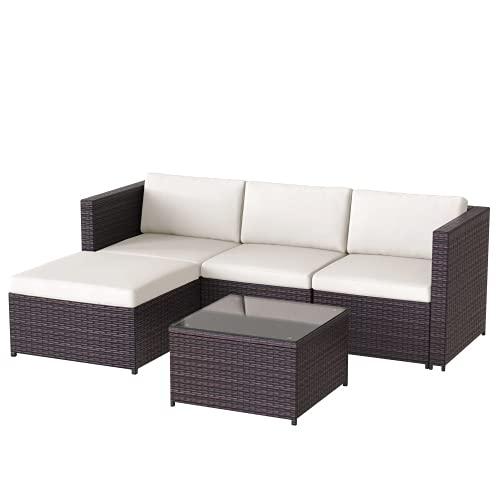 Polyrattan Balkonmöbel Loungemöbel Set, Lounge Gartenmöbel Set für 4 Personen,...