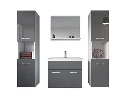 Badezimmer Badmöbel Montreal XL 60 cm Waschbecken Grau Hochglanz Fronten - Unterschrank...