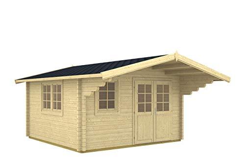 Gartenhaus ENZO - C/1 Blockhaus 400x500cm - 40mm - Inkl. Fußboden+Verglasung Gartenlaube...