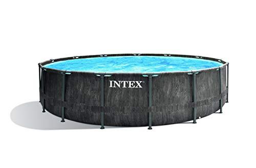 Intex Unisex– Erwachsene Premium Frame Pool Set Prism Greywood Ø 457 x 122 cm,...