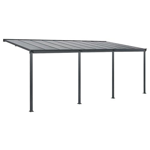 Juskys Aluminium Terrassendach Borneo 6×3 m dunkelgrau | Terrassenüberdachung mit...