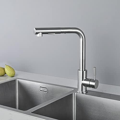 CECIPA Hochdruck Wasserhahn Küche Ausziehbar, Küchenarmatur mit Brause Zwei...