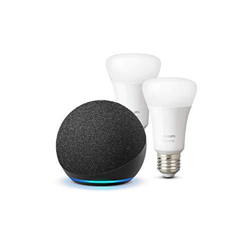 Der neue Echo Dot (4. Generation), Anthrazit + Philips Hue White LED-Lampe Doppelpack...