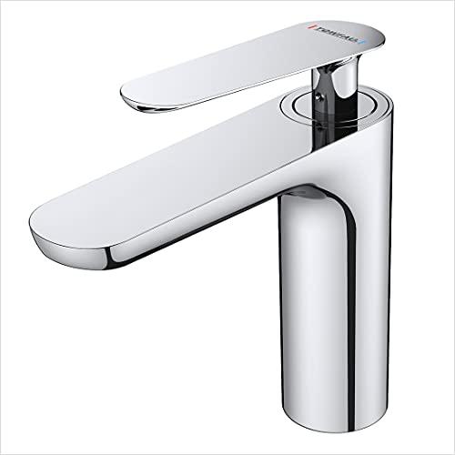 WOOHSE Waschtischarmaturaus Messing Chrom, Wasserhahn Bad mit Kaltes und Heißes Wasser,...