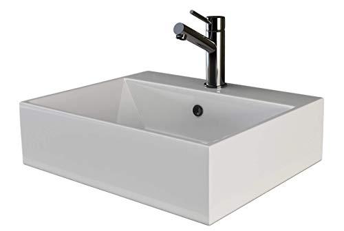 VILSTEIN Keramik Waschbecken Hängewaschbecken Aufsatzwaschbecken Waschtisch rechteckig...