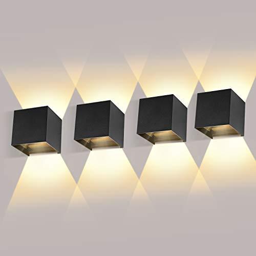 ledmo 4 Pack 12W LED Wandleuchten Innen/Außen Wandlampe Auf und ab Einstellbarer...