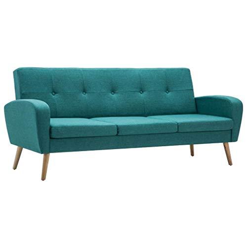 vidaXL Sofa 3-Sitzer Stoff Grün Polstersofa Couch Stoffsofa Designersofa