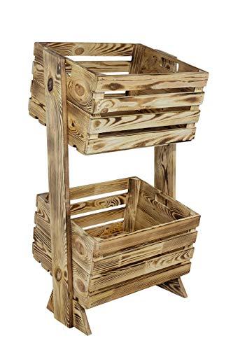 Obstkisten-online 1x Modernes Holzregal mit Zwei gekippten, geflammten Kisten, Hingucker...