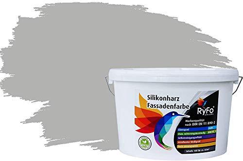 RyFo Colors Silikonharz Fassadenfarbe Lotuseffekt Trend Delphingrau 10l - bunte...