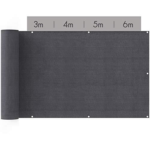 suntura® Balkon Sichtschutz [90x600cm] | inkl. Kabelbinder und Seil | UV-Schutz |...