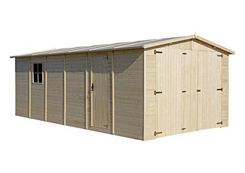 TIMBELA Holzgarage - Abstellraum mit Fenstern- H222x616x324 cm /18 m2 -...