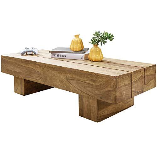 FineBuy Couchtisch Massiv-Holz LUCCA Akazie 120 cm breit Wohnzimmer-Tisch Design...