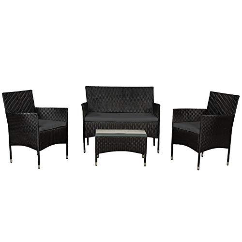 ArtLife Polyrattan Sitzgruppe Fort Myers schwarz | dunkelgraue Bezüge | 4 Personen |...