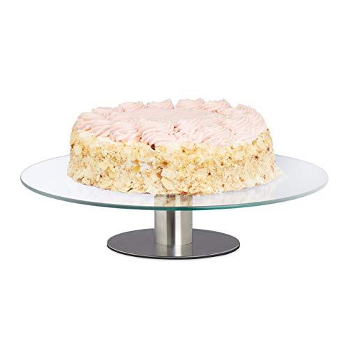 Relaxdays Tortenplatte drehbar, Standfuß, Kuchenplatte zum Dekorieren, Torten Drehteller...