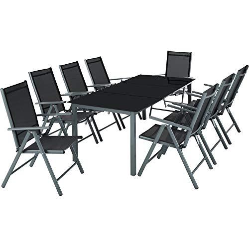 TecTake Aluminium Sitzgarnitur 8+1 Sitzgruppe Gartenmöbel Tisch & Stuhl-Set - Diverse...
