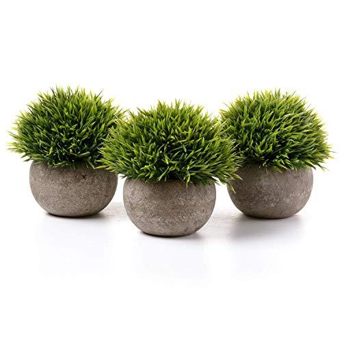 T4U Künstliche Grün Gras Bonsai Kunstpflanze mit grauen Topf, für...
