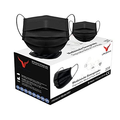 URUSANA 50 Stück Medizinische Masken Schwarz OP Masken Schwarz CE Zertifiziert EN14683...