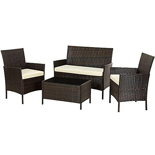 SONGMICS Gartenmöbel-Set aus Polyrattan, Lounge-Set, in Rattanoptik, Terrassenmöbel,...