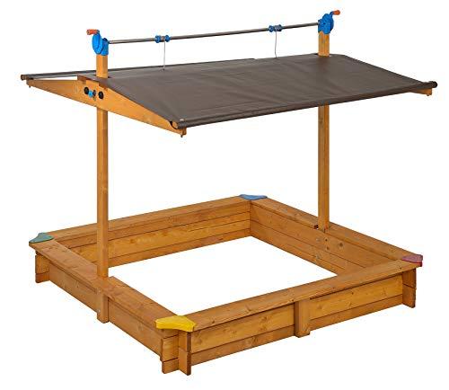 GASPO 310016 - Holz Sandkasten Mickey 140 x 140 cm mit absenkbaren Dach/Kurbeldach