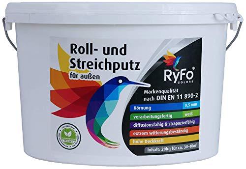 RyFo Colors Roll- und Streichputz für außen 20kg (Größe wählbar) - Rollputz für den...