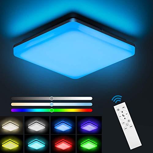 NIXIUKOL 24W LED Deckenleuchte Dimmbar RGB, Deckenlampe mit Fernbedienung, Lichtfarbe und...