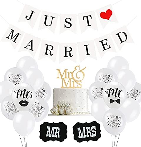 Just Married Hochzeit Deko Set, 30 Weiß Ballon, 10 Just Married Luftballons, 2 Schilder...