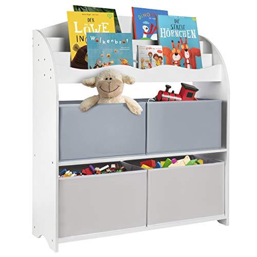 ONVAYA® Kinder-Bücherregal Weiß   Kinderregal mit Boxen   Aufbewahrung von Büchern und...