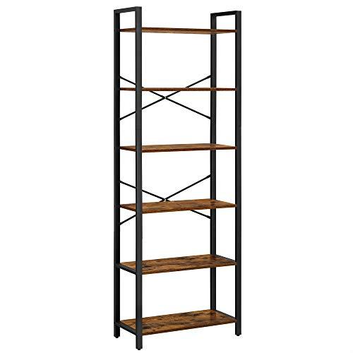 VASAGLE Bücherregal mit 6 Ebenen, Aufbewahrungsregal, Stahlgestell, für Wohnzimmer,...
