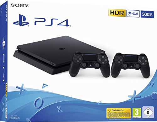 PlayStation 4 - Konsole (500 GB, schwarz, slim, F-Chassis) + zweiter DualShock 4...