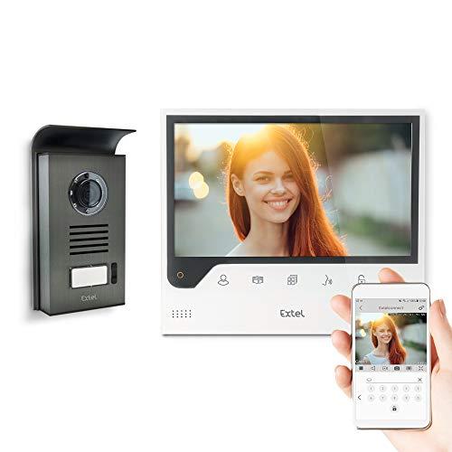EXTEL Connect smarte Video-Türsprechanlage, 7 Zoll Monitor, mit Kamera, Smartphone App,...
