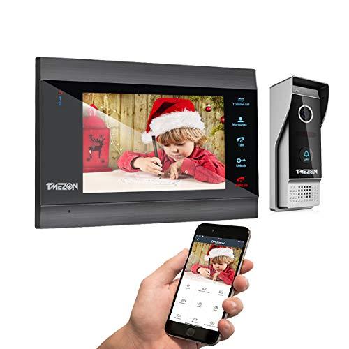 TMEZON WLAN Video Türsprechanlage Türklingel Gegensprechanlage System,7 Zoll 1080P IP...