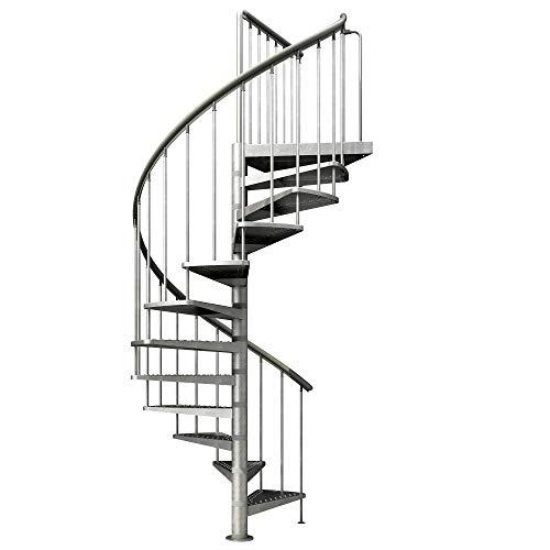 Spindeltreppe verzinkt | Außenspindeltreppe | Wendeltreppe | Geschosshöhe: 246-282 cm|...