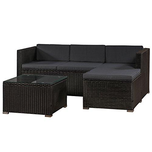 ArtLife Polyrattan Lounge Punta Cana M für 3-4 Personen mit Tisch in schwarz mit Bezügen...