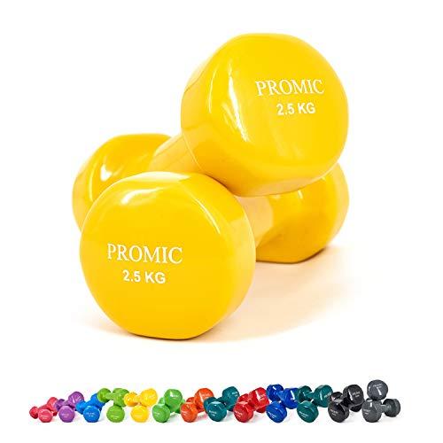 PROMIC Solid Hand Gewichte Deluxe Vinyl Hanteln mit einem rutschfesten Griff für Fitness...