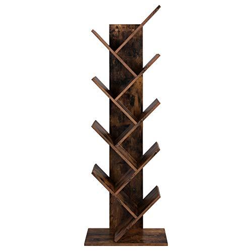 VASAGLE Bücherregal, Standregal mit 8 Ebenen, in Baumform, aus Holz, für Wohnzimmer,...