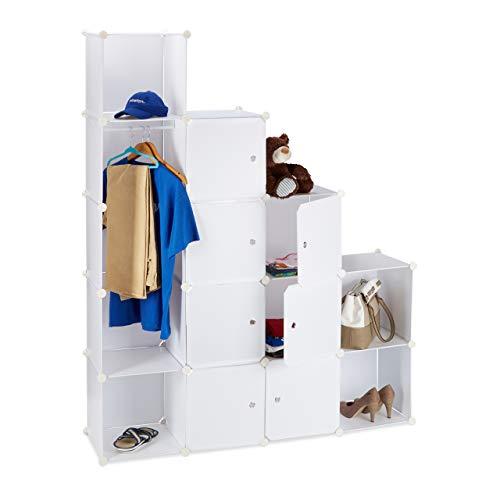 Relaxdays Kleiderschrank Stecksystem mit 12 Fächern, großer Garderobenschrank aus...