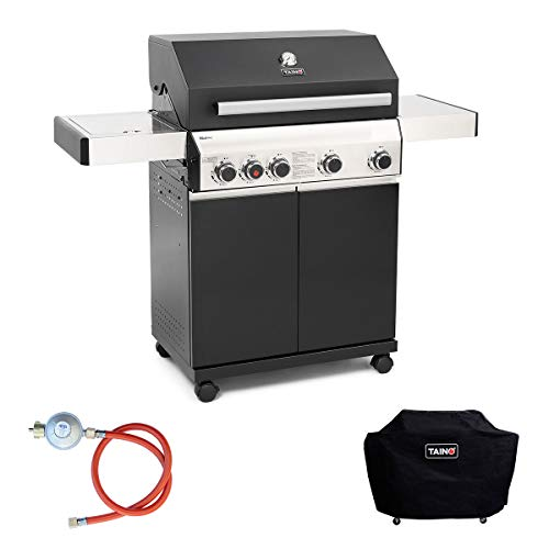 TAINO Black 4+1 Gasgrill Set inkl. Haube Druckregler Power-Zone Sear-Burner...