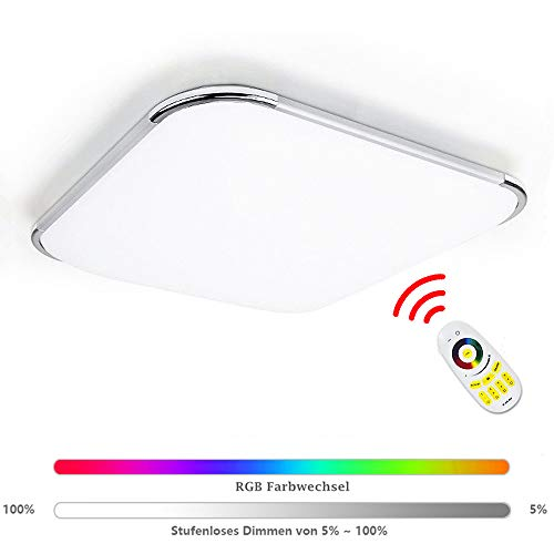 Hengda Led Deckenleuchte RGB 24W Dimmbar Deckenlampe mit Fernbedienung, Lampe für...